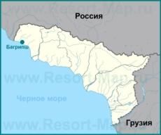 Багрипш на карте Абхазии