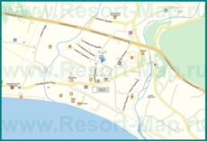 Подробная карта поселка Цандрипш с улицами и отелями