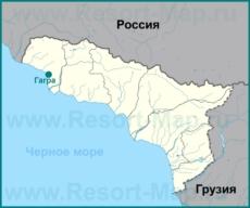 Гагра на карте Абхазии
