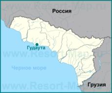 Гудаута на карте Абхазии