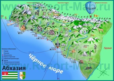 Курорты Абхазии на карте