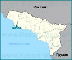 Лдзаа на карте Абхазии