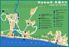 Карта Нового Афона с достопримечательностями