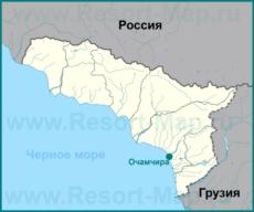Очамчира на карте Абхазии