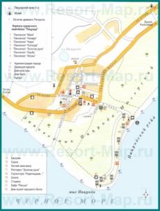 Туристическая карта Пицунды с отелями, достопримечательностями и пансионатами