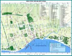 Подробная туристическая карта Сухума с достопримечательностями
