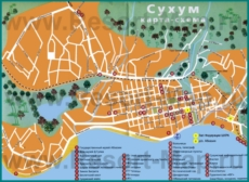 Туристическая карта Сухума с отелями и санаториями