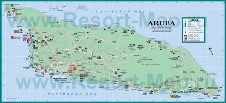 Подробная карта Арубы с отелями