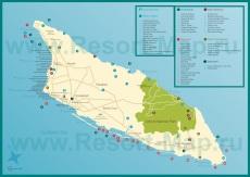 Туристическая карта острова Аруба с достопримечательностями