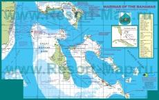 Подробная карта Багамских островов с отелями