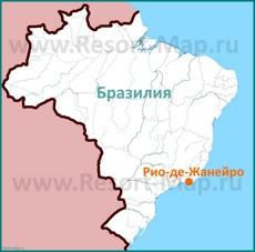 Город Рио-де-Жанейро на карте Бразилии