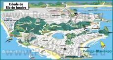 Карта Рио-де-Жанейро с отелями и достопримечательностями
