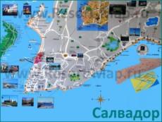 Туристическая карта Салвадора с достопримечательностями и пляжами
