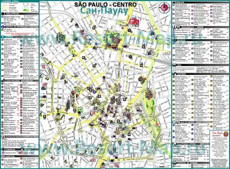 Туристическая карта центра Сан-Паулу с достопримечательностями