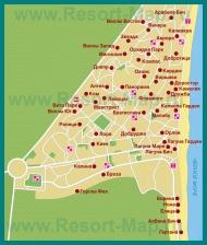 Карта города Албена с отелями