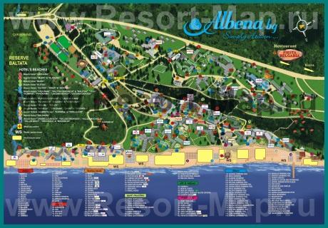 Подробная карта курорта Албена