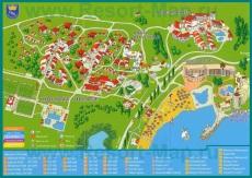 Карта курорта Дюни с отелями
