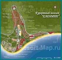 Подробная карта курорта Елените