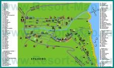 Карта курорта Кранево с отелями