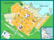 Подробная карта курорта Лозенец