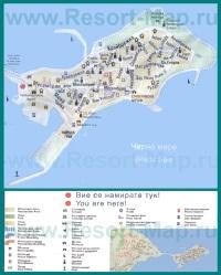 Туристическая карта города Несебр с отелями