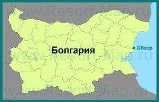 Город Обзор на карте Болгарии