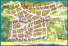 Подробная туристическая карта города Обзор