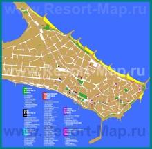 Туристическая карта Поморие с достопримечательностями