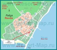 Подробная карта города Равда с отелями