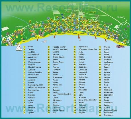 Карта Солнечного берега на русском языке с отелями