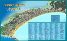 Подробная карта курорта Солнечный берег с отелями