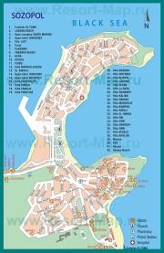 Подробная карта Созополя с отелями