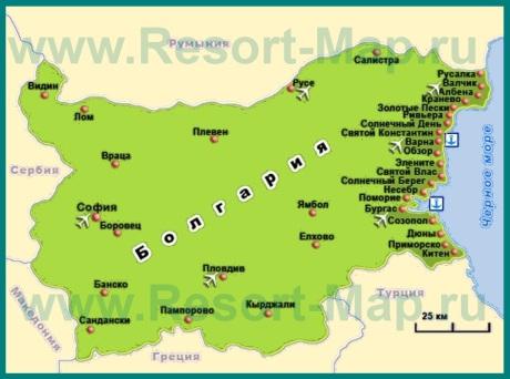 Курорты Болгарии на карте