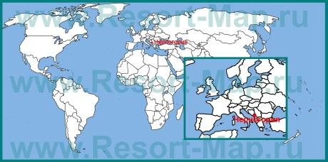 Черногория на карте Европы и мира