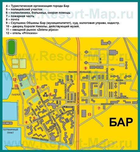 Туристическая карта курорта Бар