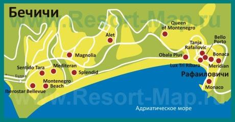 Карта отелей Бечичи