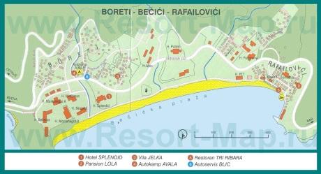 Подробная карта курорта Бечичи