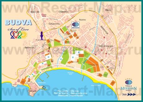 Подробная карта города Будва