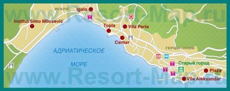 Карта отелей Герцег-Нови