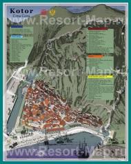 Подробная карта города Котор с достопримечательностями