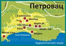 Карта отелей Петроваца