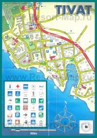 Карта Тивата с отелями