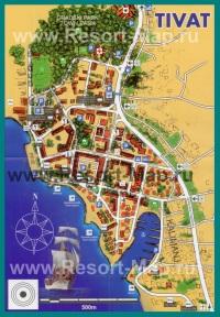 Туристическая карта курорта Тиват