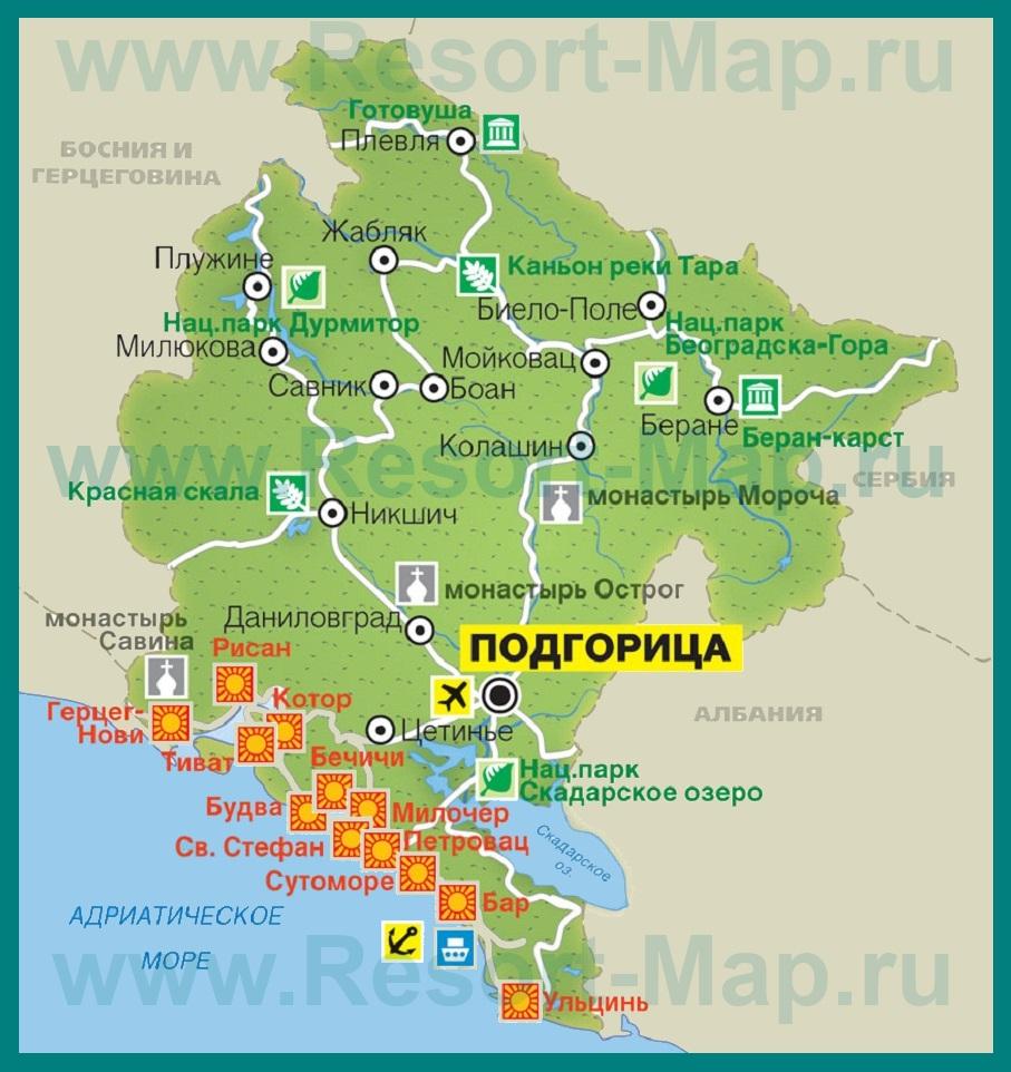 карта курортов мира:
