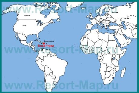 Бока Чика на карте мира