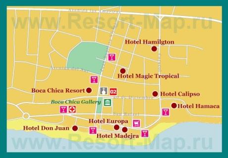 Карта отелей Бока-Чика