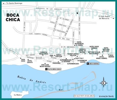 Подробная карта курорта Бока Чика с отелями
