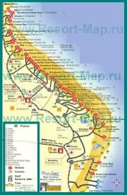 Карта курорта Пунта-Кана с отелями