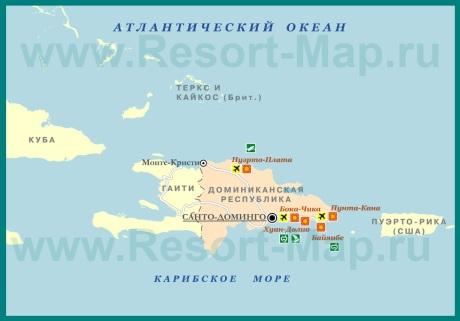 Курорты Доминиканы на карте