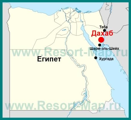 Дахаб на карте Египта